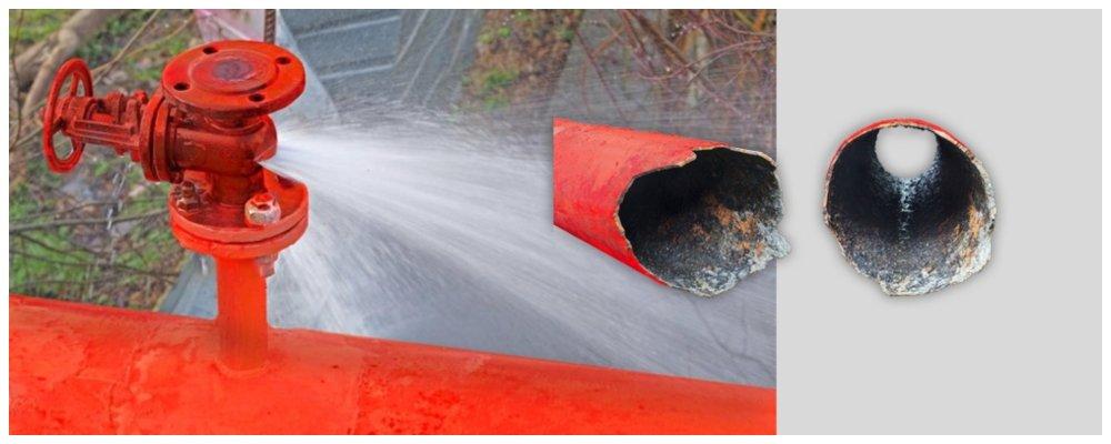 Разрушения от гидроудара в пожарном трубопроводе