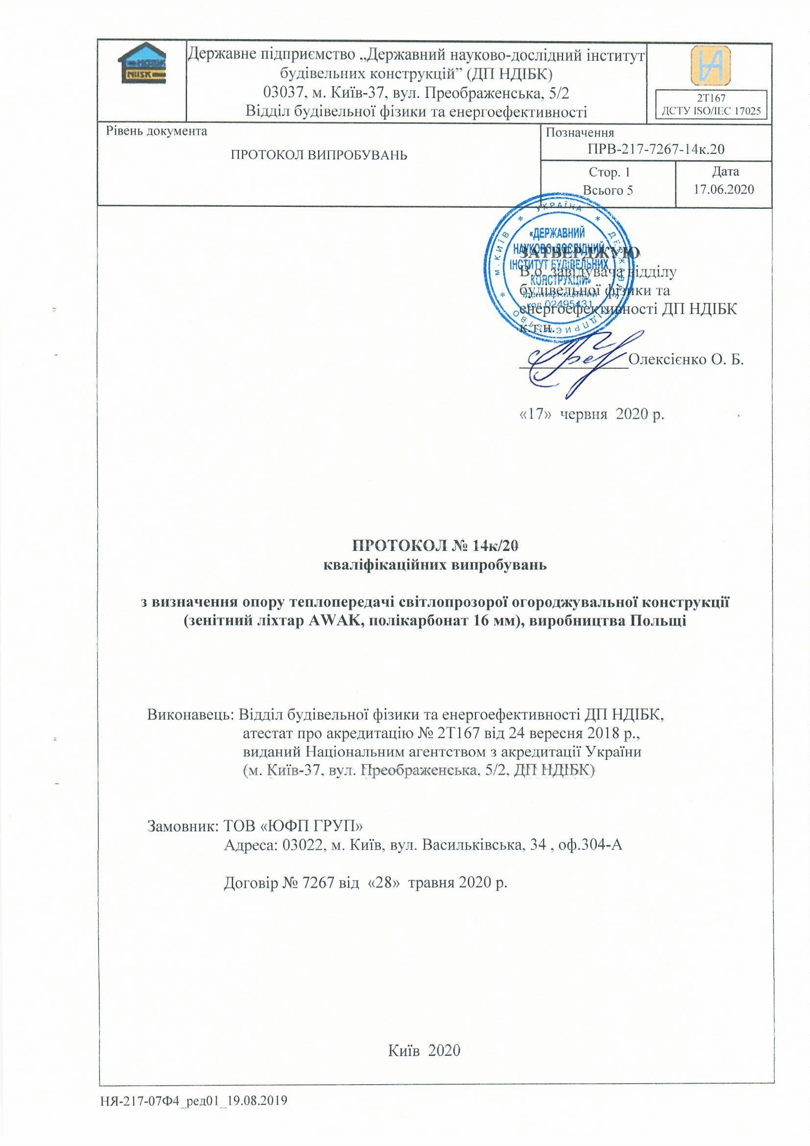 Протокол квалификационных испытаний. Фонари Awak